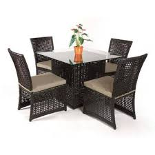 whole 4 chairs outdoor rattan glass dining table and chair