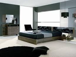Modern Bedroom Bed Solid Wooden Bed For Modern Bedroom Ideas For Men With Grey Wall