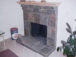 slate tile face fireplace custom wood mantle