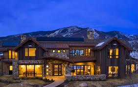 mountain home designs. contemporary wooden mountain home design with big windows designs