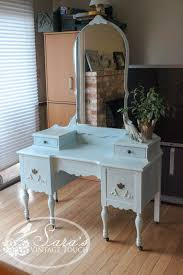 antique makeup vanity dressing table refinished in maison blanche s chalk paint by sara s vintage