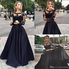 Sexy Black Two Pieces Long Illusion Sleeves Prom Dresses 2017