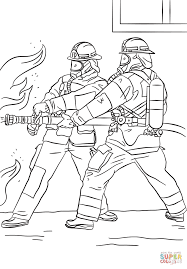 Firefighters Spraying Water coloring page   Free Printable ...