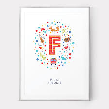 illustrated letter f nursery print personalised baby name wall art on personal wall art baby name with illustrated letter f nursery print personalised baby name wall art