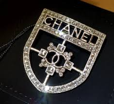 chanel pin. genuine authentic chanel shield brooch costume jewelry pin h