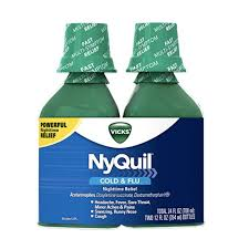 Vick Nyquil Cough Cold And Flu Nighttime Relief Original Liquid 2x12 Fl Oz