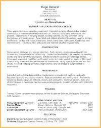 Resume Template For Construction Worker General Labor Resume