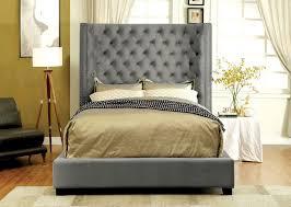 Kasidon Grey Fabric Tall Headboard Bed