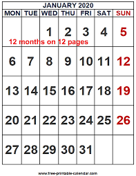 12 Months 2020 Calendar 2020 Calendar Word Template Free Printable Calendar Com