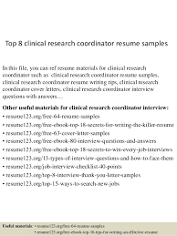 Top 8 clinical research coordinator resume samples In this file, you can  ref resume materials ...