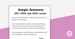 While this isn't the entire list of words, some of them include: Cvc Ccvc And Cvcc Sentence Worksheet Teaching Resource Teach Starter