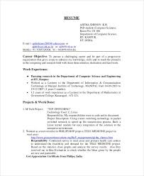 Objective In Resume For Computer Science