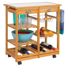 best choice s rolling wood kitchen storage cart dining trolley w drawers 0