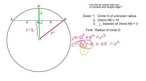 how do you find the radius given a and a perpendicular bisector