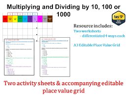 Multiplying and Dividing by 10, 100 and 1000 (Answers & Place ...