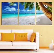 3 piece palm and beach canvas art print ready to hang 3 panels stretched on deep on extra large ocean wall art with beach and sunset extra large wall art canvas print