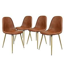 greenforest dining side chairs washable pu cushion seat metal legs for dining room chairs set of