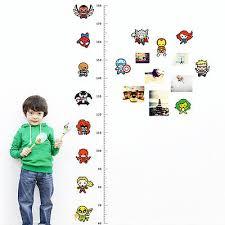Fashion Cartoon Character Height Chart Measure Wall Sticker