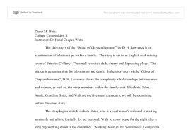 the short story of the odour of chrysanthemums by d h lawrence  document image preview