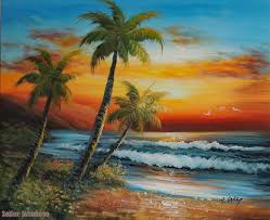 painting hawaii south pacific island sunset beach s palm stretched 20x24 oil painting