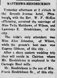 Twila Matthews and Lawrence Hendrickson marriage - Newspapers.com