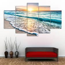 sunset beach print wall art split canvas paintings colormix 1pc 12 31