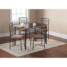 mainstays 5 piece wood and metal dining set espresso