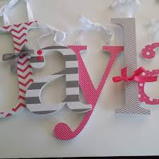 wood letter wall decor awesome hot pink and grey custom wooden nursery decor letters baby of