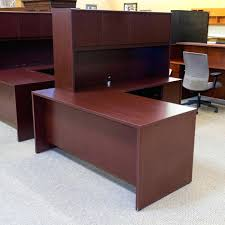 office desk and hutch used national right l shape executive office desk with hutch mahogany office