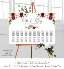 Burgundy Floral Wedding Seating Chart Template Fl1