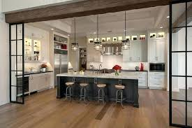 floating kitchen countertop white laminate island black painted doors cabinets light toned wooden