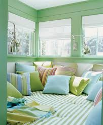 35 Amazing And Cozy Nooks By The Window : 35 Beautiful Nooks By The Window  With Green Blue Wall Bed Pillow Bed Lamp