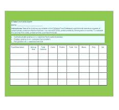 Online Food Log Calorie Diary Template Free Online Food Journal