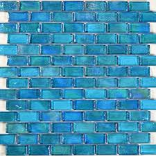 artistry in mosaics poured series 1x2 glass tile turquoise brick gp82348b2