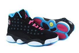 jordan shoes for girls black and pink. girls air jordan 13 retro black dynamic blue pink for sale-3 shoes and