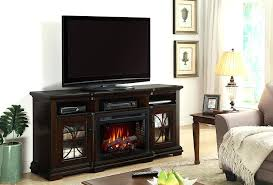 electric fireplace media console tv stand with glass embers