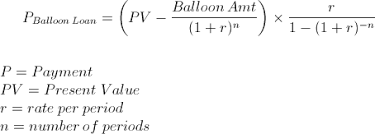 Payment On A Balloon Loan Formula With Calculator