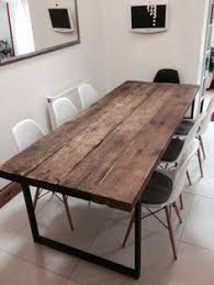 reclaimed industrial chic 6 8 seater dining table bar cafe restaurant furniture steel solid wood metal made to mere 242
