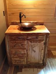 bathroom rustic vanities wooden vanity cabinet sink ideas natural log antique brass pendant light glass door bathroom vanity mirror pendant lights glass