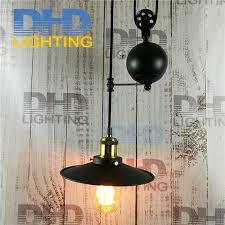 iron pulley retro edison bulb light chandelier vintage loft antique adjule diy e27 art ceiling pendant lamp