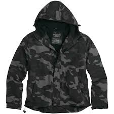 details about surplus mens windbreaker hooded jacket with fleece lining black camouflage s l