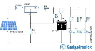 solar powered led light circuit diagram and schematic design Solar Circuit Diagram solar powered led light circuit diagram and schematic design emergency household lighting using power leds powered by the solar panel and lead aci solar inverter circuit diagram