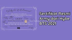 Последние твиты от army sejati indonesia (@army_sejati). Sertifikat Resmi Army Dari Hybe Bts 2021 Begini Cara Dapatnya