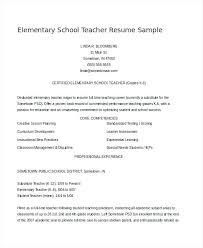 Sample Teaching Resume Inspiration Resume Template Teacher Sample Elementary Teacher Resume Sample