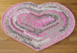 heart shaped hand crocheted rag rug
