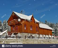 Wooden Cottage Design Luxury Wooden Cottage With A Snow Covered Roof And Courtyard