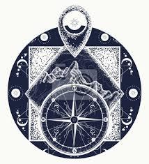 Fototapeta Hora Ukazatel Mapy A Tetování Kompasu Kompas Horní Boho Styl
