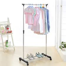 Rolling Coat Rack With Shelf IKayaa US UK FR Stock Garment Rack Metal Coat Clothes Garment 83