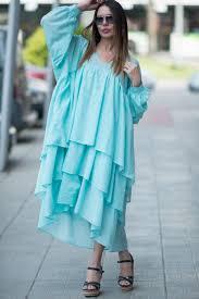 Light Cotton Maxi Dress Blue Maxi Dress Cotton Dress Flounces Dress Elegant Long