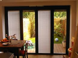 image of sliding patio doors with built in blinds black
